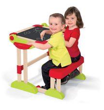 SMOBY - 28112 Detská drevená lavica Activity s objstrannou magnetickou tabuľou