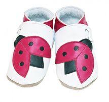 STARCHILD - Kožené topánočky - Ladybug White - veľkosť S (0-6 mesiacov)