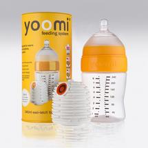 YOOMI - set 2 v 1 - 240 ml dojčenská fľaša + ohrievač žltý