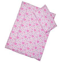 ANTONY FASHION - Obliečky (ružové) - Srdiečka, veľkosť: 120x90 (paplón) + 40x60 (vankúš)