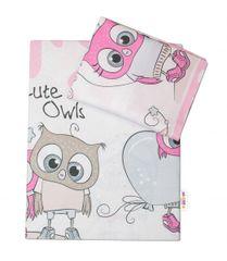 BABY NELLYS - 2-dielne bavlnené obliečky 135x100 cm, Cute Owls - ružová