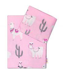 BABY NELLYS - 2-dielne bavlnené obliečky Lama - ružové