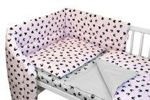 BABY NELLYS - 3-dielna sada mantinel s obliečkami Baby Nellys, Minnie, ružová/šedá