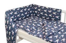 BABY NELLYS - Mantinel s obliečkami - Zajačik - granát, 135x100 cm