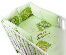 BABY NELLYS - Obliečky s vankúšikovým mantinelom Sweet Dreams by TEDDY - zelený