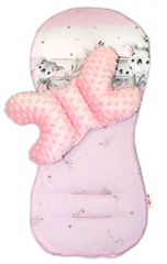 BABY NELLYS - Sada do kočíka Minky - podložka + vankúšik, Medvedík Koala - ružový
