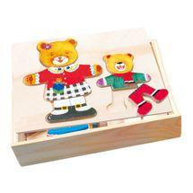 Bino - 88023 Puzzle Šatníková skriňa - medvedica a medvedík