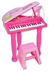 BONTEMPI - Detské elektronické Grand piano so stoličkou a mikrofónom ružové 103071