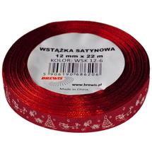 BREWIS - Stuha atlasová - vianočná 12mm červená