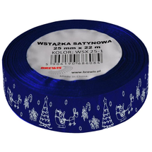 BREWIS - Stuha atlasová - vianočná 25mm modrá