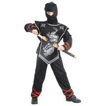 CASALLIA - Karnevalový kostým Ninja s maskou strieborný M