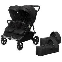 CASUALPLAY - Playxtrem Set športový kočík pre dvojičky Baby Twinn + 2 x vanička Cot - Irongate (Black)