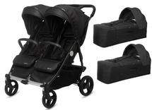 CASUALPLAY - Playxtrem športový kočík pre dvojičky a súrodencov a 2 x prenosná vanička Baby Twin 2019 - Irongate (Black)