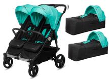 CASUALPLAY - Playxtrem športový kočík pre dvojičky a súrodencov a 2 x prenosná vanička Baby Twin 2019 - Jade (Green)