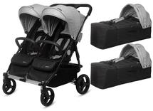 CASUALPLAY - Playxtrem športový kočík pre dvojičky a súrodencov a 2 x prenosná vanička Baby Twin 2019 - Silver (Plata)