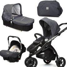 CASUALPLAY - Set kočík Kudu 3 Black, autosedačka Baby 0plus, vanička Cot a Bag 2015 - METAL