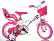 """DINO BIKES - Detský bicykel - 12"""" 612LNN so sedačkou pre bábiku a košíkom s licenciou Minnie"""