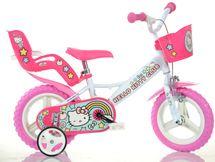 """DINO BIKES - Detský bicykel 124RLHK2 - 12"""" Hello Kitty so sedačkou pre bábiku a košíkom"""
