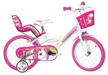 """DINO BIKES - Detský bicykel 14"""" 144RUN Unicorn so sedačkou pre bábiku a košíkom"""