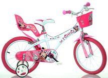 """DINO BIKES - Detský bicykel - 14"""" 614NN Minnie so sedačkou pre bábiku a košíkom"""