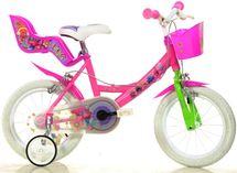 """DINO BIKES - Detský bicykel 144RTRO Trolls - 14"""" so sedačkou pre bábiku a košíkom"""