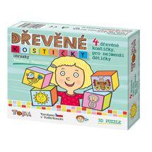 DINOTOYS - Drevené kocky Pre najmenšie deti 4 ks