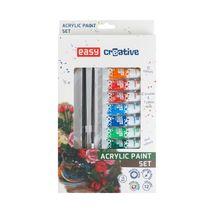 EASY - Akrylové farby SET - 12 farieb, 2 štetce, paleta