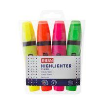 EASY - FLASH-zvýrazňovač, mix 4 farby (zelená, oranžová, žltá, ružová)