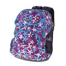 EASY - Batoh školský trojkomorový fialový, bielo-modré kvietky