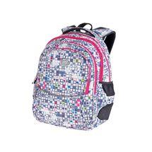EASY - Školský ruksak trojkomorový bielo - šedý ružové zipsy, profilovaná zadná strana, 26 l