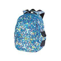 EASY - Školský ruksak trojkomorový tyrkysovo - modré kocky, profilovaná zadná strana, 26 l