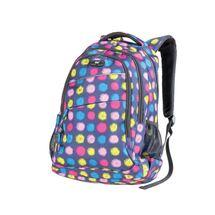 EASY - Študentský ruksak trojkomorový modrý, farebné bodky 26 l