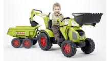 FALK - Šliapací traktor 1010W Claas Axos s nakladačom, vlečkou a rýpadlom