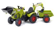 FALK - Šliapací traktor 1010Z Claas Axos s nakladačom, rýpadlom a vlečkou