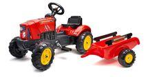 FALK - Šliapací traktor 2030AB Supercharger červený s vlečkou