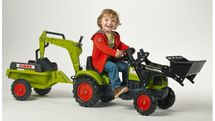 FALK - Šliapací traktor 2040N Claas Arion 410 s nakladačom, rýpadlom a vlečkou