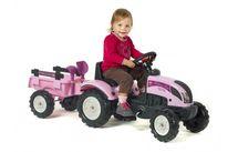 FALK - Šliapací traktor 2056C Princess ružový s vlečkou a lopatkou s hrabličkam