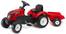 FALK - Šliapací traktor 2058J Garden master červený s vlečkou
