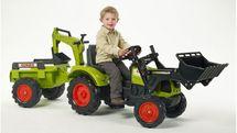 FALK - Šliapací traktor 2070Y Claas Arion 430 s nakladačom, rýpadlom a vlečkou