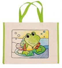 GOKI - Detská Eko bavlnená taška k vyfarbenie, 39x31,5cm - Žabka