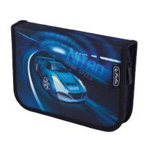 HERLITZ - Peračník plátený plný, 2-chlopňový, Auto/modrý