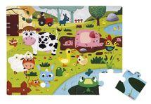 JANOD - J02772 Dotykové puzzle s textúrou Zvieratká na farme 20 dielikov