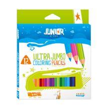 JUNIOR-ST - Pastelky Jumbo 12 farebné 10 + zlatá a strieborná