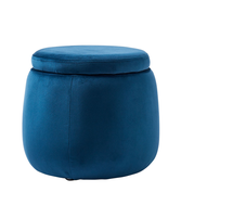 KIDS CONCEPT - Úložný taburet guľatý Velvet Blue