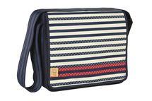 LÄSSIG - Taška na rukoväť Casual Messenger Bag - Striped zigzag navy