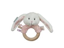 LITTLE DUTCH - Hrkajúci zajačik s dreveným krúžkom PINK