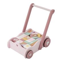 LITTLE DUTCH - Vozíček s kockami pink