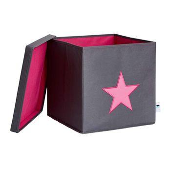 LOVE IT STORE IT - Box na hračky s krytom - šedý, ružová hviezda