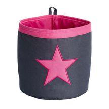 LOVE IT STORE IT - Malý úložny box, okrúhly - šedý, ružová hviezda