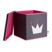 LOVE IT STORE IT - Úložný box na hračky s krytom - šedý, biela koruna